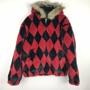 Supreme Jacket Red Black Diamond Faux Fur